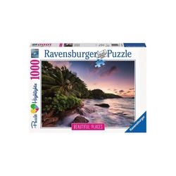 Ravensburger Puzzle Puzzle 1000 Teile, 70x50 cm, Insel Praslin auf den, Puzzleteile