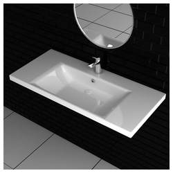 Alpenberger Waschbecken Design Keramikbecken Elegantes Handwaschbecken 100 cm breit I Mit integriertem Überlauf I Hänge-Waschbecken I Leichte Montage