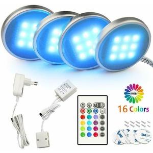 4ER RGB LED Unterbauleuchte Küche Vitrinenbeleuchtung LED Schrankleuchten Lampe