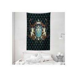Wandteppich aus Weiches Mikrofaser Stoff Für das Wohn und Schlafzimmer, Abakuhaus, rechteckig, Mittelalterlich Mittelalter Wappen 140 cm x 230 cm