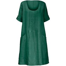 Kleid aus 100% Leinen mit 3/4-Arm Anna Aura grün