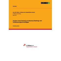Analyse eines Business-to-Business-Mailings mit Verbesserungsvorschlägen als Buch von Anonym