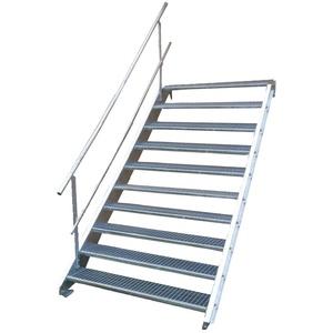 Stahltreppe Industrietreppe Aussentreppe Treppe 10 Stufen-Breite 100cm Variable Geschosshöhe 150-200cm mit einseitigem Geländer