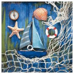 Linoows Papierserviette 20 Servietten Maritim, Fischernetz und Maritime, Motiv Maritim, Fischernetz und Maritime Kleinode