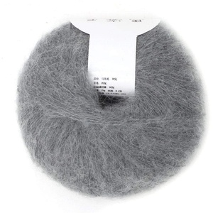 Strickgarn Beliebte weiche Mohair Strick Angora Wolle Garn für DIY Stricken (mit einer Häkelarbeit)(light grey)