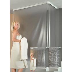 Kassetten Eck - Duschrollo Tropfen weiß, 137 x 62 cm