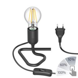 Tischlampe TRIN schwarz mit Stecker und Schalter inkl. E27 Lampe 800lm weiß, A++, 3-Stufen Dimmen ohne Dimmer mit Lichtschalter