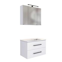 Waschtisch mit LED Spiegelschrank Weiß (2-teilig)