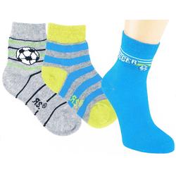 Riese Strümpfe Kurzsocken RS Jungen Strümpfe Socken 3er Pack Fußball grau (3-Paar) 23-26