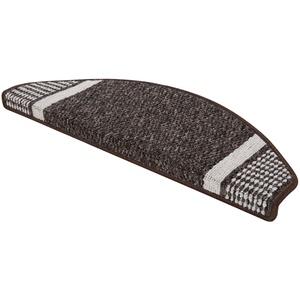 andiamo Stufenmatte Runner Set für Treppenstufen, Treppenmatte halbrund 28x65cm 2-Stück, braun