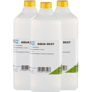 3x 1000 ml Aqua Dest destilliertes Wasser von Medicalcorner24®, unsteril, mikrofiltriert, Laborwasser