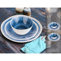 APS Geschirr-Set (6-tlg), Melamin, Camping-Geschirr für 2 Personen, Picknickgeschirr, maritim, Bootsgeschirr, Essgeschirr für Wohnmobil blau