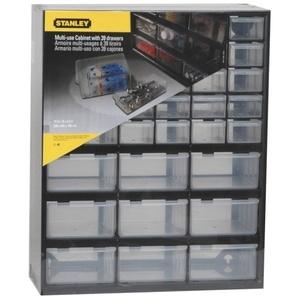 Stanley KLEINTEILEMAGAZIN MIT 39 SCHUBLADEN  Kasten für Kleinteile  Kunststoff  Schwarz  Transparent  365 mm  160 mm  445 mm