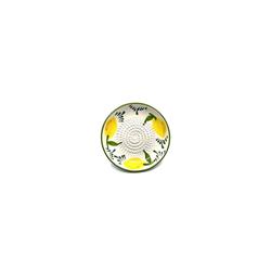 Kaladia Küchenreibe Reibeteller in weiß mit Zitronenmuster, Keramik, handbemalte Küchenreibe - Made in Spain