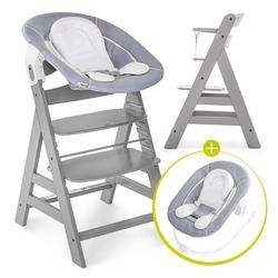 Hauck Hochstuhl Alpha Plus Grey - Newborn Set Holz Hochstuhl ab Geburt + Neugeboreneneinsatz & Wippe