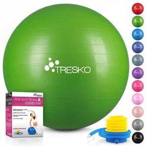 TRESKO Gymnastikball, Yogaball mit GRATIS Übungsposter inkl. Luftpumpe - Fitnessball BPA-Frei, Sitzball Büro, Sitzball Anti-Burst, 300 kg Belastbarkeit 85 cm