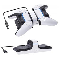 Raptor - Ladestation Playstation 5 für 2 Controller - weiß Controller-Ladestation