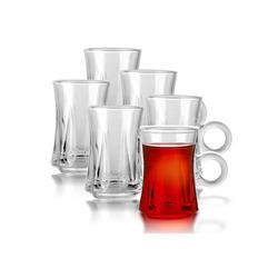 Fiora Teeglas Teeglas mit Henkel Espresso Glas Türkische Teegläser für Warm und Kalt Getränke, 6 teilig
