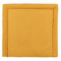 KraftKids Wickelauflage Musselin goldene Punkte auf Gelb, Wickelunterlage 78x78 cm (BxT), Wickelkissen