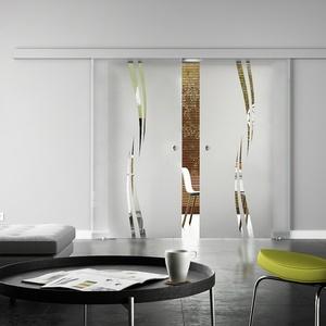 Glasschiebetür, BASIC-Beschlag - auch mit Softclose, 2-flg., Design-Dekor
