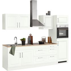 HELD MÖBEL Küchenzeile Stockholm, ohne E-Geräte, Breite 270 cm, mit hochwertigen MDF Fronten im Landhaus-Stil weiß