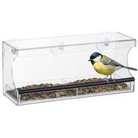 Relaxdays Vogelhaus Vogelfutterhaus für Fenster groß