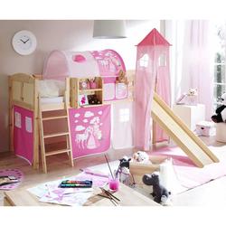 Kinderhochbett mit Turm, Vorhang und Tunnel Pink und Rosa