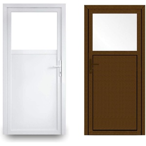 EcoLine Nebentür - Nebeneingangstür - Tür - 2-Fach, 1/3 Glas, 2/3 Füllung, außenöffnend innen: weiß/außen: Nussbaum BxH: 900 x 2000 mm DIN Rechts