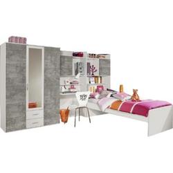Jugendzimmer Naomi 3 4-teilig weiß / grau B 317 cm