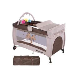 tectake Baby-Reisebett Kinderreisebett Hund mit Wickelauflage natur