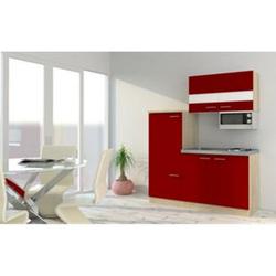 Respekta Economy Küchenzeile KB160ESRMI 160 cm, Rot mit Mikrowelle