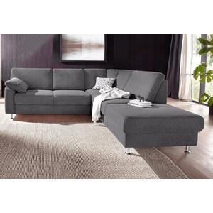 sit&more Ecksofa, wahlweise mit Vorziehsitz und Bettkasten grau