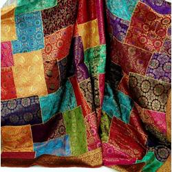Tagesdecke Orientalische Patchwork Brokatdecke, Indische.., Guru-Shop 220 cm x 270 cm