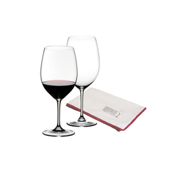 RIEDEL Glas Rotweinglas Vinum 2 Rotweinglas Cabernet Sauvignon+Poliertuch (3-tlg), Glas