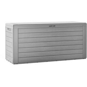 Deuba Auflagenbox Woody, 108981, Kunststoff, grau, 120 x 57 x 46 cm