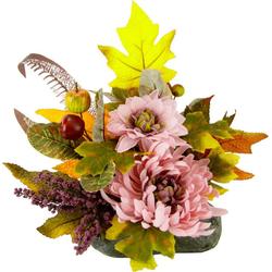 Kunstpflanze Chrysantheme, I.GE.A., Höhe 20 cm, Gesteck auf Stein
