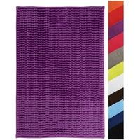 MSV Badteppich Badvorleger Duschvorleger Chenille Hochflor Badematte 60x90 cm – Lila/Violett