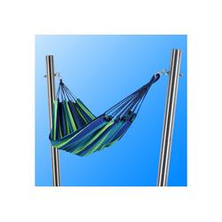 Toldoro Hängematte Hängematte blau-grün mit 2 stabilen Edelstahlpfosten Ø70x3mm 185cm
