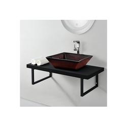 neu.haus Waschtisch, Waschtischplatte 100x45x30cm Waschtischkonsole mit Handtuchhalter schwarz schwarz