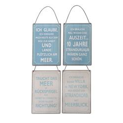 Posiwio Metallschild 4tlg. Schild MEER blau weiß grau Metallschild Meerblick Strandkorb Urlaub (4 Motive)