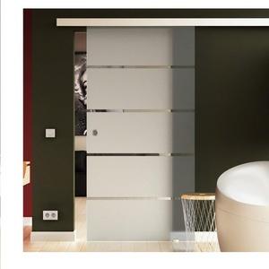 SoftClose Schiebetür aus Glas 775x2050 mm Milchglas Satiniert gestreift (S) Levidor® EasySlide-System komplett Laufschiene und Muschelgriffen für Innenbereich