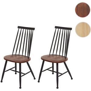 2x Esszimmerstuhl HWC-G69, Küchen/Bistrostuhl, Massivholz Retro Design Metall Gastronomie ~ vintage