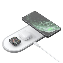Dudao Dudao 3in1 Qi Wireless Charger Pad 10W Ladestation Ladegerät Weiß für Apple Watch, Airpords, iPhone 11 PRO MAX, XR XS MAX X 8 PLUS Wireless Charger