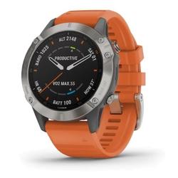 Fenix 6 - Pro- und Sapphire Titan mit orangefarbenem Armband