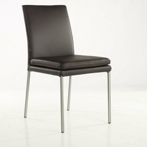 SIX Lederstuhl No. 439 Braun Edelstahl gebürstet Lederstuhl Küchenstühle Neuware