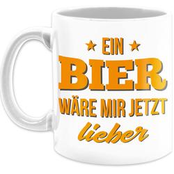 Shirtracer Tasse Ein Bier wäre mir jetzt lieber - Tasse mit Spruch - Tasse zweifarbig, Keramik