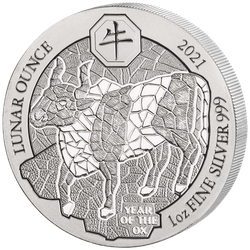 1 Unze Silber Ruanda Lunar Ochse 2021