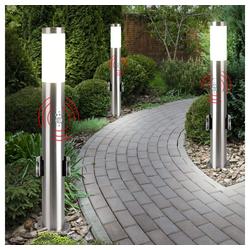 etc-shop LED Steckdosenleuchte, 3er Set Edelstahl Steh Lampe Außen Steckdosen Bewegungsmelder Garten Wege Leuchte silber