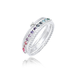 Elli Ring-Set Kristalle Farbig Regenbogen Set (3 tlg) 925 Silber, Kristall Ring 52