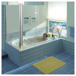 Mucola Badewannenaufsatz Eck Glas Duschabtrennung Badewannenaufsatz Badewannenfaltwand Duschkabine Dusche, BxT: 120x68 cm, Einscheibensicherheitsglas